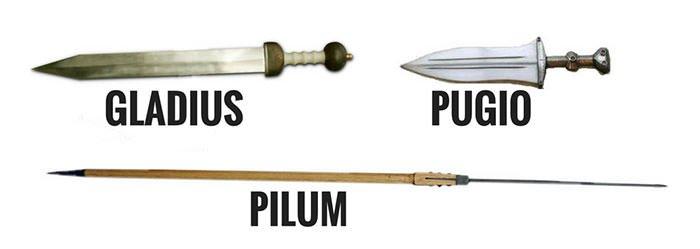 Gladius, Pilum and Pugio