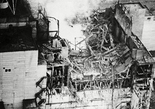 Chernobyl reactor after the explosion