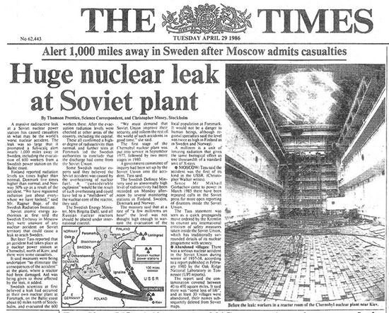 Times report on the Chernobyl Disaster