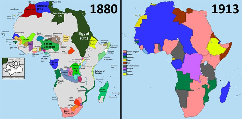 Colonial Africa in 1880 and before World War I
