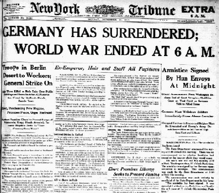 German Surrender in WW1 report