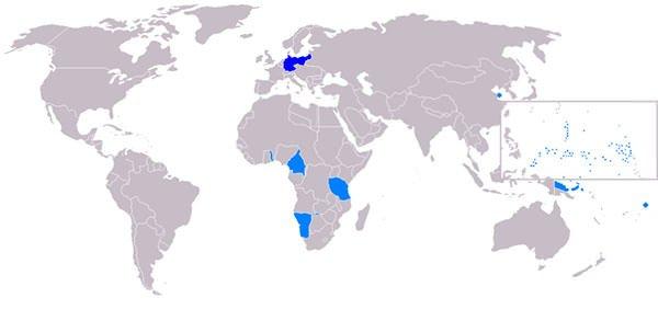 Treaty of Versailles German colonies map