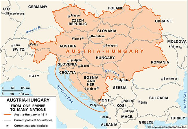 Austria-Hungary in 1914 and current boundaries