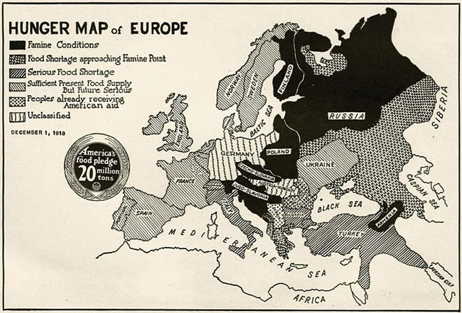 Hunger Map of Europe in 1918