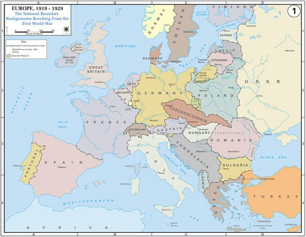 Treaty of Versailles Europe map